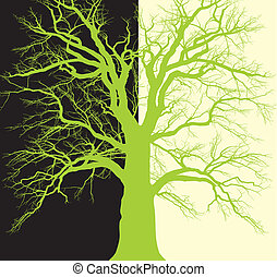 Background with old tree branched - vector illustration...