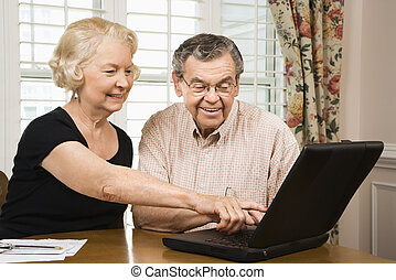 Mature couple with laptop. - Mature Caucasian couple looking...