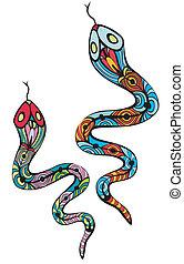 dois, patterned, cobras