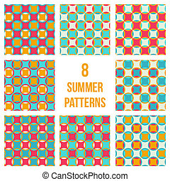 Set of eight seamless patterns - Set of eight geometrical...