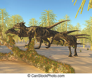 Dracorex - A herd of Dracorex dinosaurs walk through a...