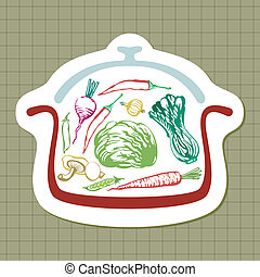Panful of vegetables - Illustration with silhouette of pan...