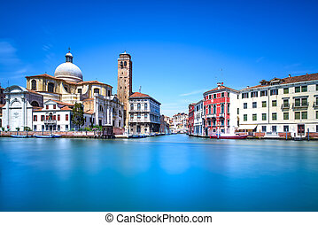 Venice grand canal, San Geremia church landmark. Italy