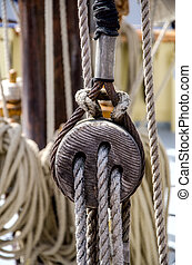 Ship's rigging on a sailboat