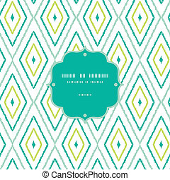 Green ikat diamonds frame seamless patterns backgrounds -...
