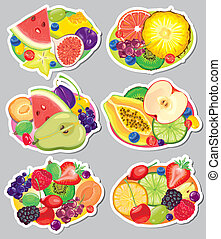Fruit stickers. Contains transparent objects. EPS10.
