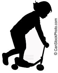Little girl on the scooter, silhouette vector