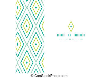 Green ikat diamonds frame horizontal seamless patterns...