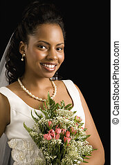 Bridal portrait - Portrait of a mid-adult African-American...