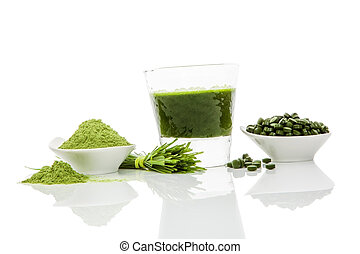 Green superfood. - Green pills, green powder, green drink...