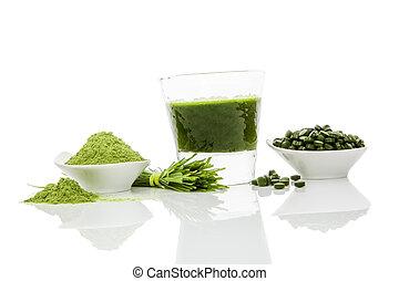 Green superfood. - Green pills, green powder, green drink...