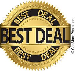Best deal golden label, vector illustration