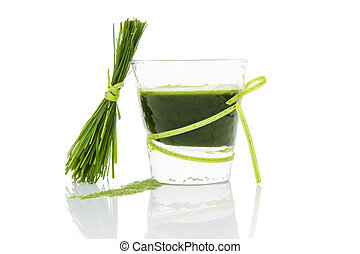 Green juice. - Green wheat grass juice, barley grass blades...