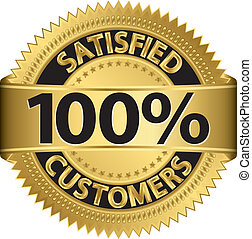 100 percent satisfied customers golden label, vector...