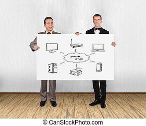 wi-fi scheme - two businessman holding placard with wi-fi...