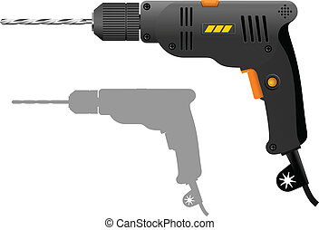 Power drill - Gray electric drill. Vector illustration of...