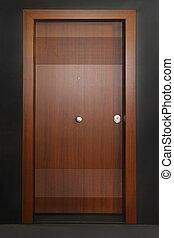 Brown door - Brown wood panel door in home interior