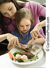 Mom helping daughter cut food - Caucasian mother helping cut...