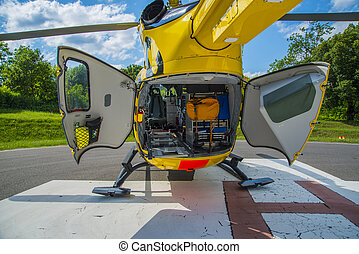 Rescue helicopter - Paramedics helicopter prepared to...