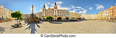 Town square in Pardubice, Czech Republic - Panorama of town...