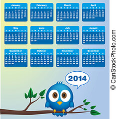 2014 calendar with funny blue bird