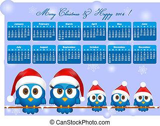 2014 calendar with funny blue birds