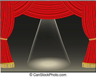 Theater curtains background with spotlight