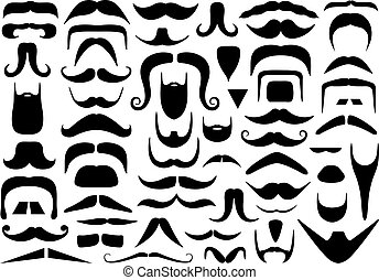 Set of different mustaches isolated on white