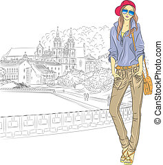 Vector sketch of a fashion stylish girl in the old city -...