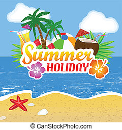 Summer Holiday poster background, vector illustration