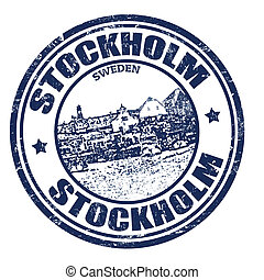 Stockholm stamp - Grunge rubber stamp with the name of...