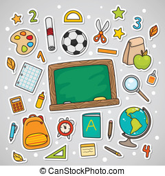 Stickers with school supplies, set.