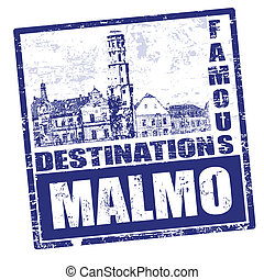Malmo stamp - Black grunge rubber stamp with the name of...