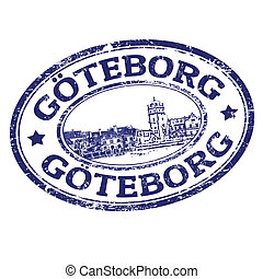 Goteborg stamp - Black grunge rubber stamp with the name of...
