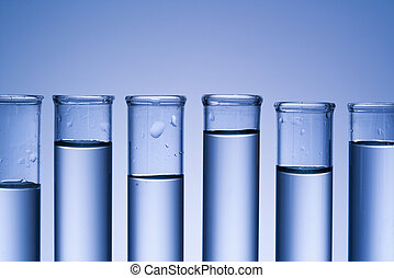 Test tubes. - Test tubes with blue tint.