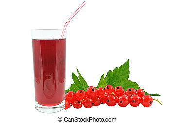 currant juice - juice of red currants on a white background