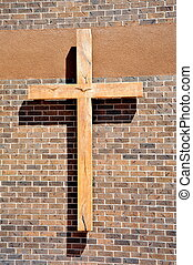 Religious cross. - Religious cross on display on a wall...
