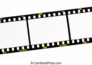 Slide film strips with empty frames - Blank images on a...