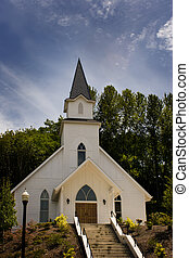 White Wedding Chapel - A vintage white church on the hill...