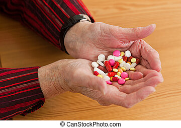 Patients with drug and tablets - An old woman with tablet