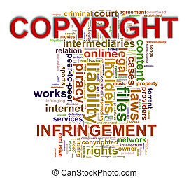 Wordcloud words tags of copyright infringement -...