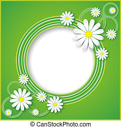 Green abstract background with flowers chamomiles - Creative...