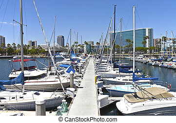 Long Beach marina California. - Long Beach marina and...