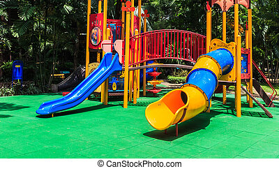 Colorful Playground with Green Elastic Rubber Floor for...