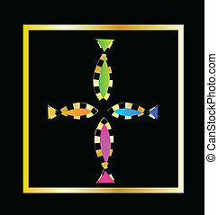 Cross from decorative fish vector