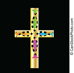 Gold cross with colored fish vector