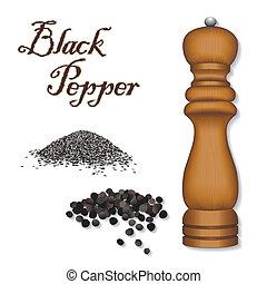 Épice, moulin, broyeur, noir, poivre