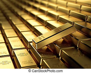 Gold bars - 3d render of gold ingots in a row, wealth...