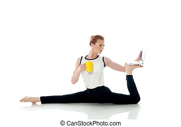 Image of woman posing in unreal pose with laptop