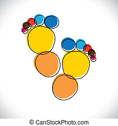 Abstract colorful pair of people's footprint- vector...